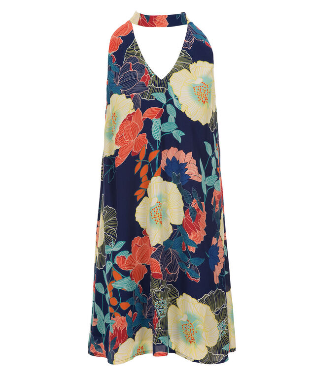 Luxology Trapeze Dress, Navy/Coral Print, hi-res