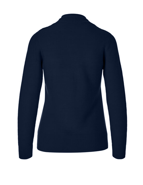 Navy Ottoman Stitch Topper Sweater, Navy, hi-res