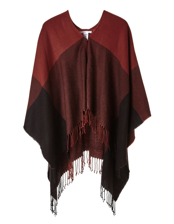 Chili Fringe Poncho, Chili/Black, hi-res