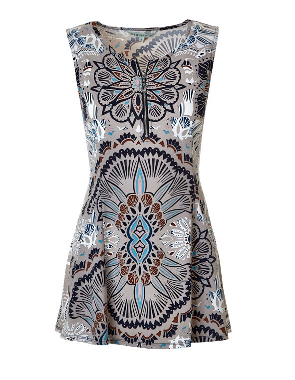 Ornate Print Zipper Tunic, Stone/Turquoise/Navy, hi-res