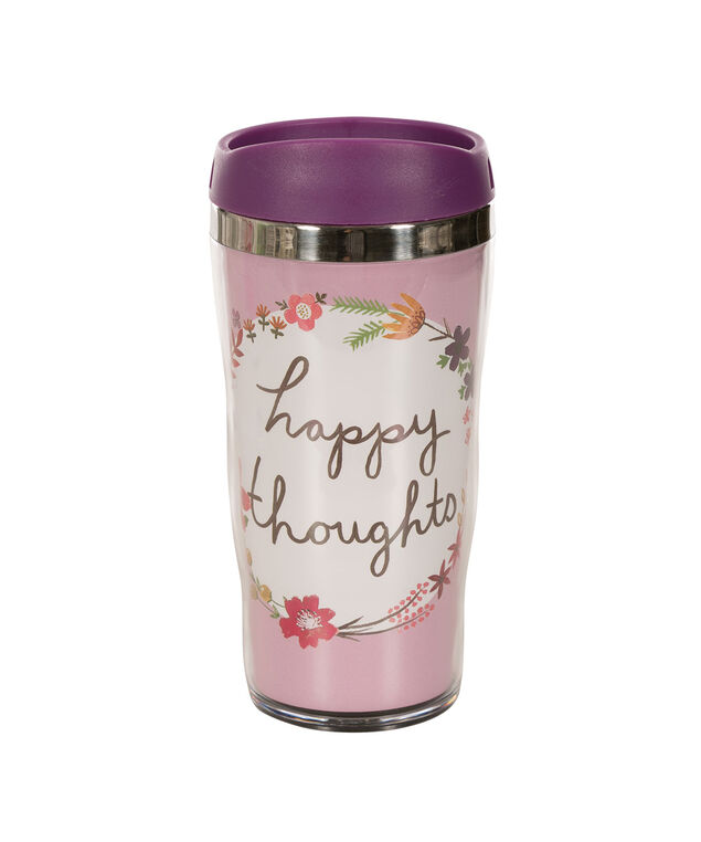 Happy Thoughts Travel Mug, Pink/Black, hi-res