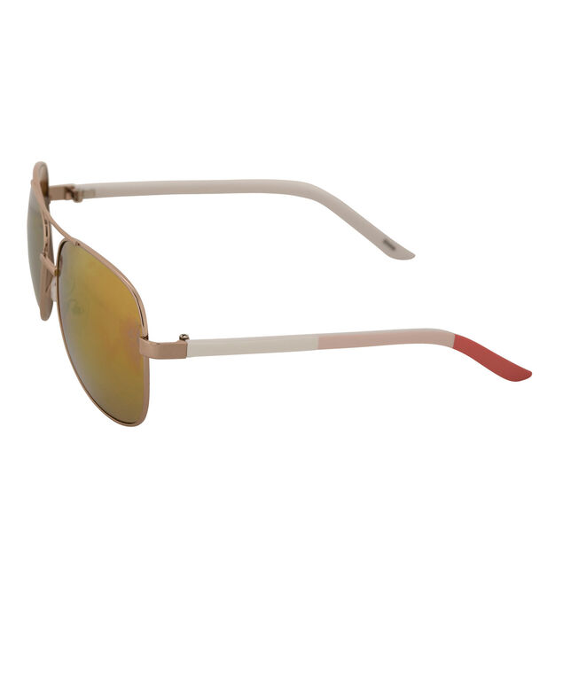 Colourblock Arm Aviator Sunglasses, Pink/White/Gold, hi-res
