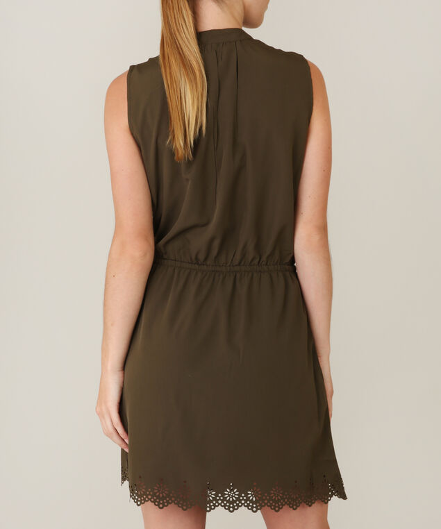 eyelet tie waist dress - wb, OLIVE, hi-res