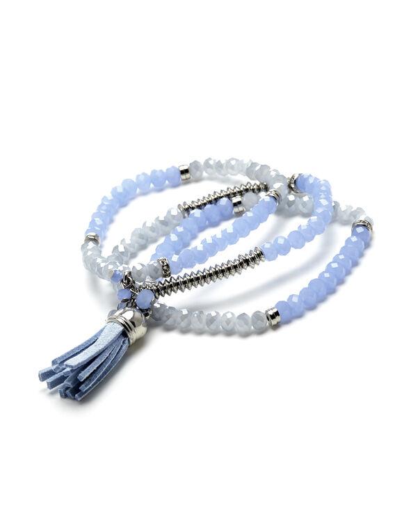 Blue Tassel Bracelet Set, Blue/Silver, hi-res