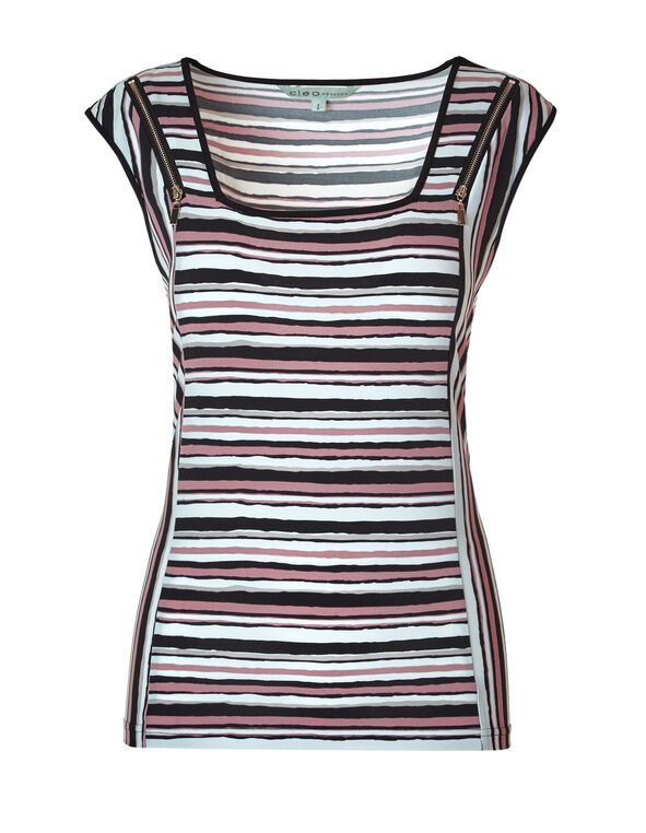 Mixed Stripe Square Neck Top, Black/White/Soft Pink/Stone, hi-res