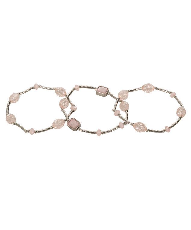 Faceted Stone Bracelet Set, Pink Blush/Rhodium, hi-res