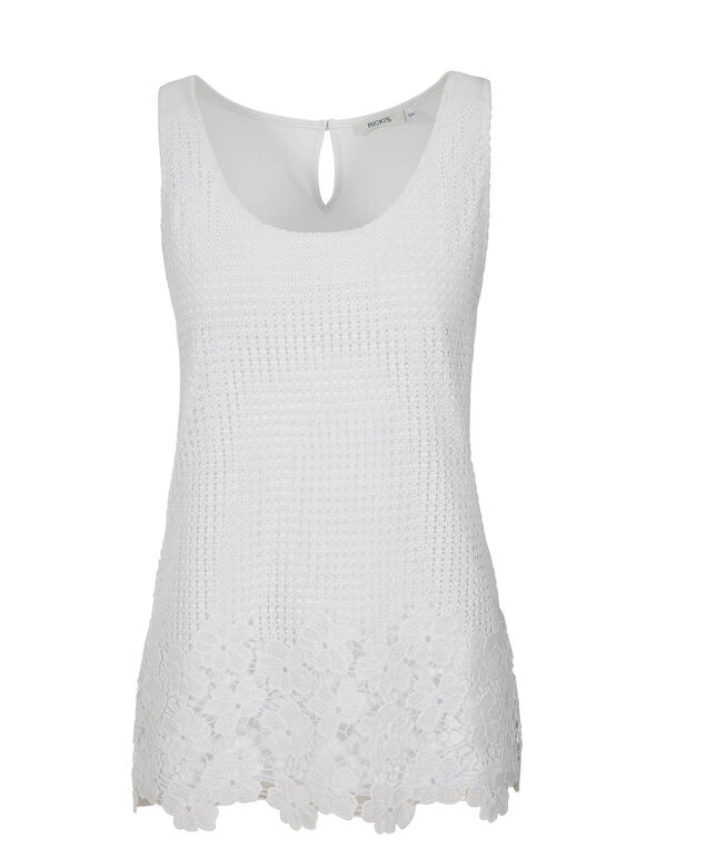 Crochet Tank, True White, hi-res