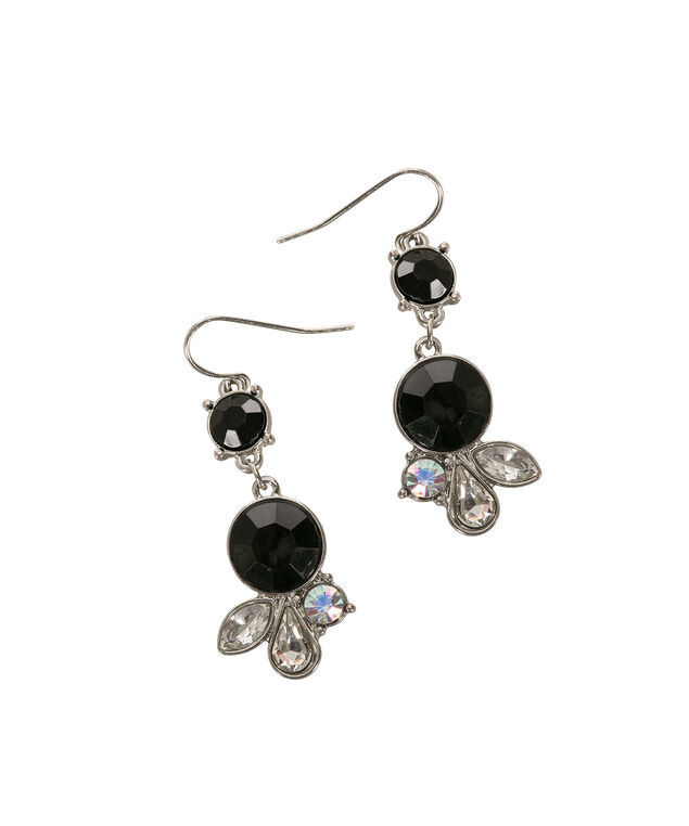 Mini Jewelled Earring, Black/Rhodium, hi-res