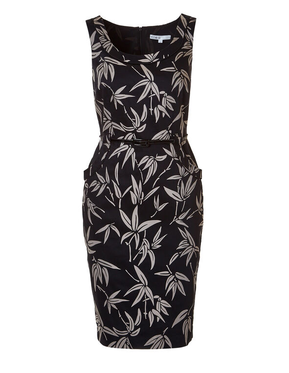 Bamboo Print Shift Dress, Black/Mushroom, hi-res