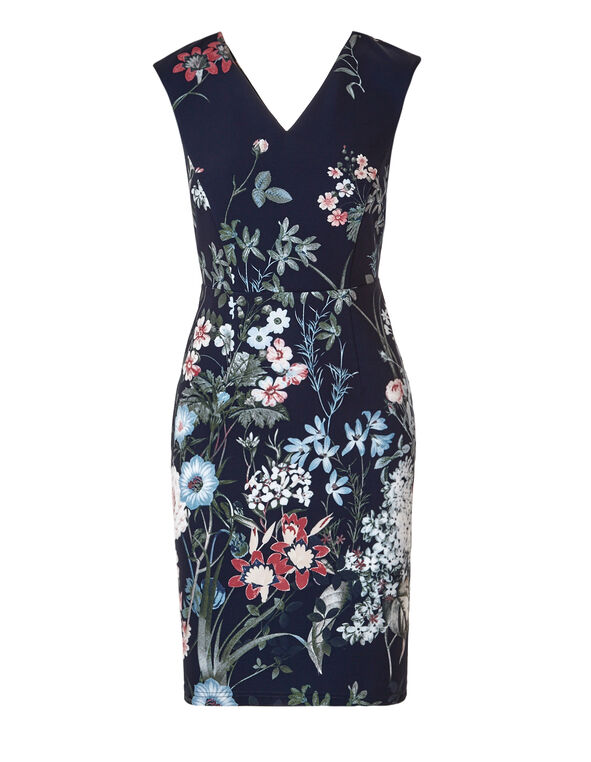 Navy Floral Print Shift Dress, Navy/White/Clay/Blue, hi-res