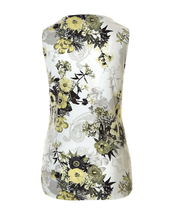 Floral Print V-Neck Top, White/Yellow/Grey/Black, hi-res