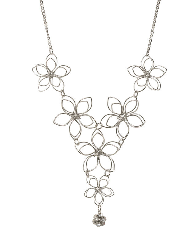Wire Flower Necklace, Rhodium, hi-res
