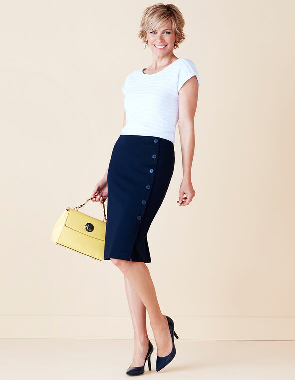 Navy Button Front Skirt, Navy, hi-res