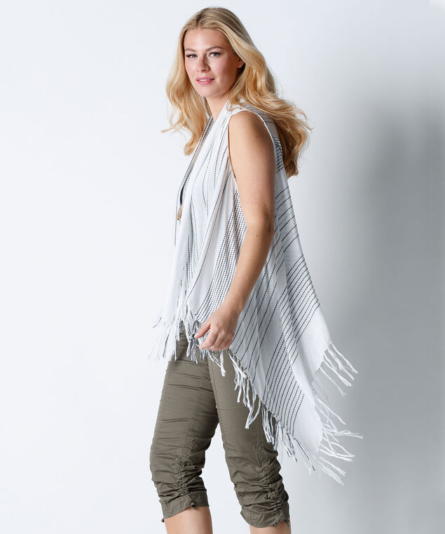 Embroidered Stripe Fringe Vest, White/Grey, hi-res