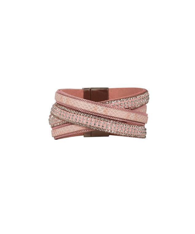 Crystal Wrap Magnetic Bracelet, Baked Rose/Rhodium, hi-res