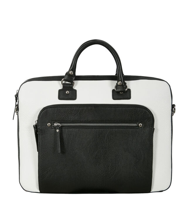 Colourblock Laptop Tote Bag, White/Black, hi-res