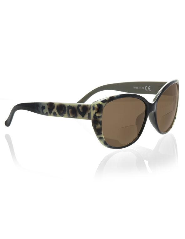 Leopard Bifocal Sun Reader, Black/Brown, hi-res