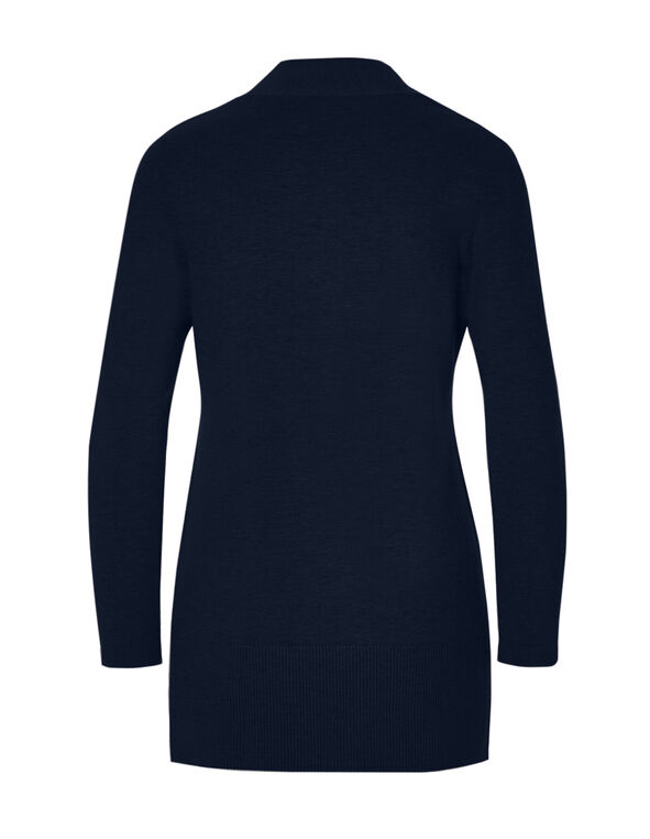 Navy Long Cardigan Sweater, Navy, hi-res