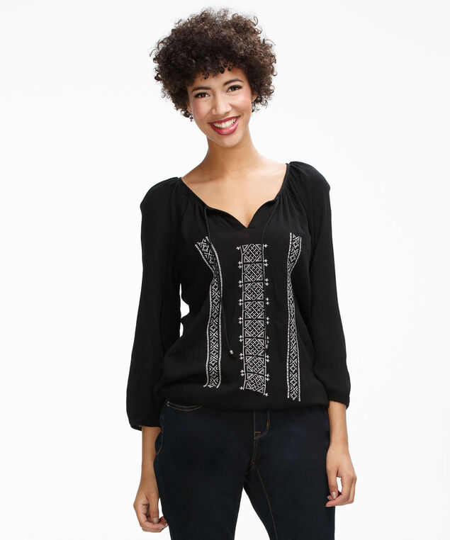 Embroidered Bubble Top, Black, hi-res