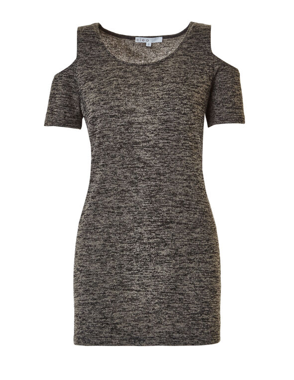 Cold Shoulder Knit Tunic, Dark Taupe, hi-res