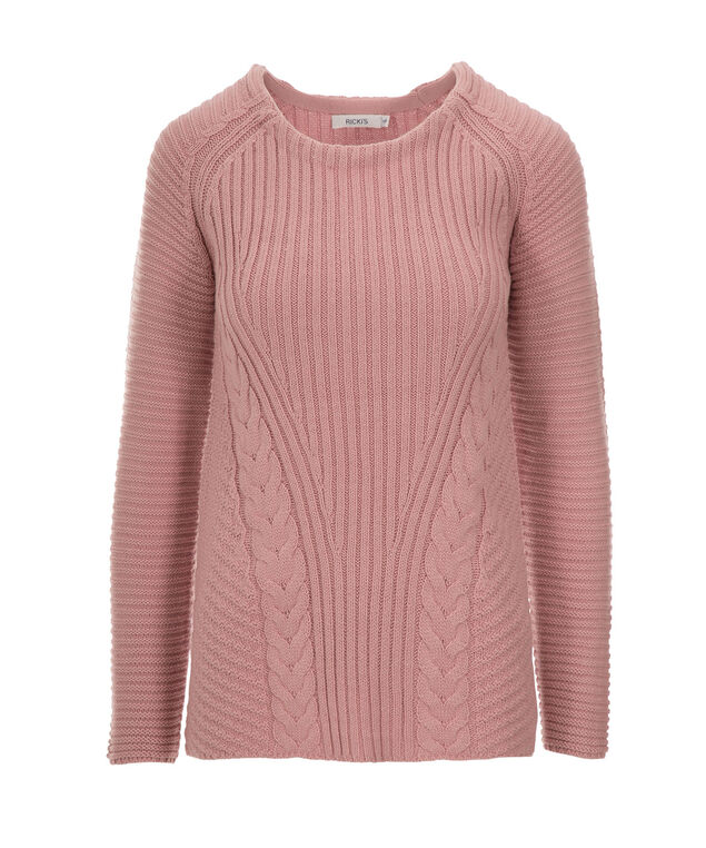 Cable Front Pullover Sweater, Pink Quartz, hi-res