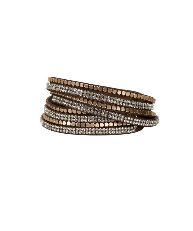 Wrap Around Faux Suede Bracelet, Brown/Antique Gold, hi-res