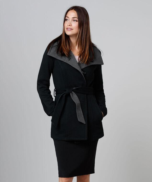 Knit Tie Jacket, Black/Grey, hi-res
