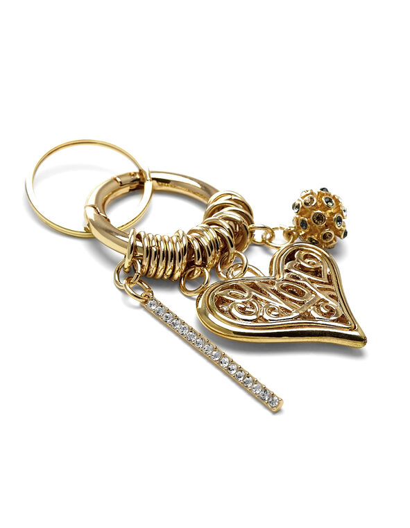 Gold Heart Handbag Charm, Gold, hi-res