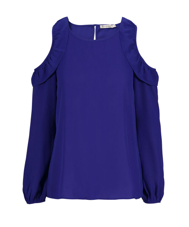 Ruffle Cold Shoulder, Ultra Blue, hi-res
