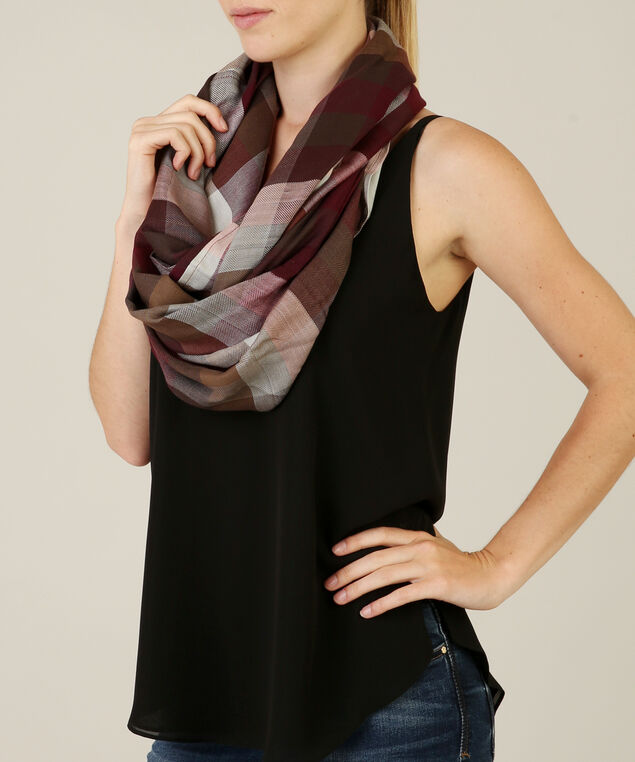 infinity plaid scarf, PLUM PLAID, hi-res