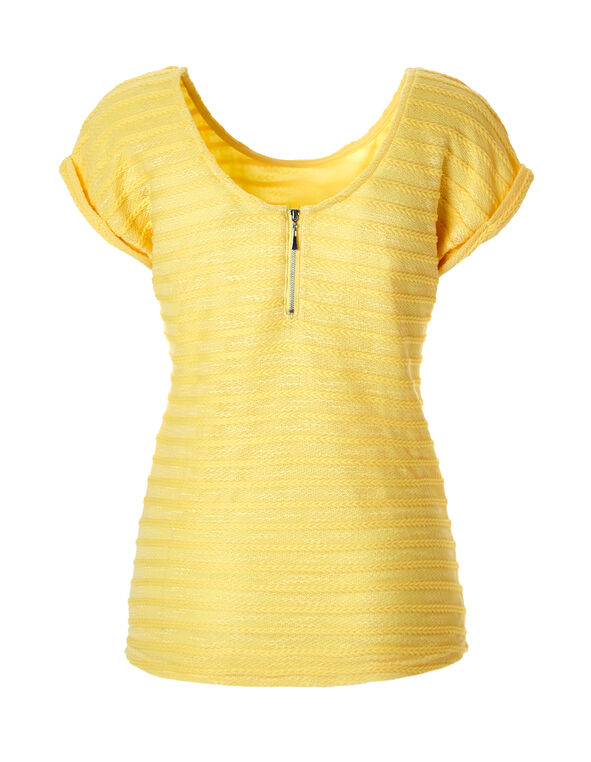 Yellow Knit Zipper Top, Yellow, hi-res