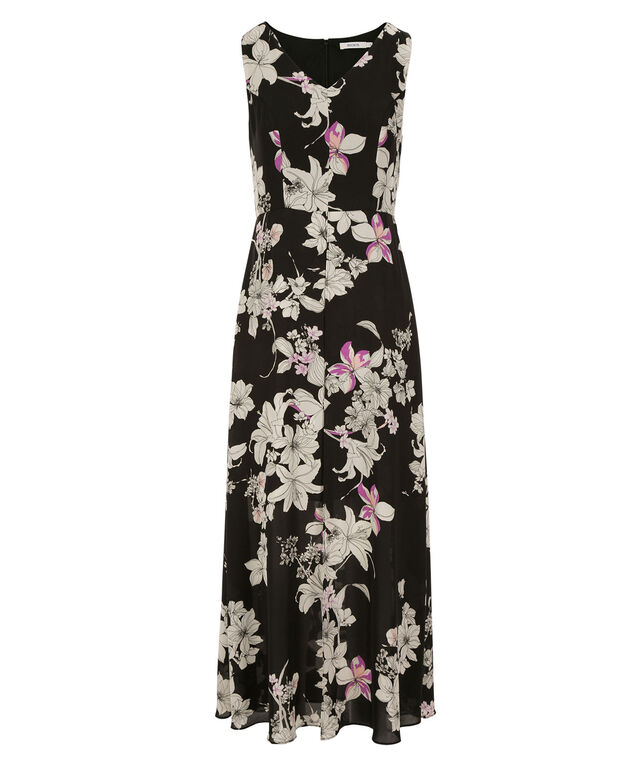 Floral Skirt Maxi Dress, Black Print, hi-res