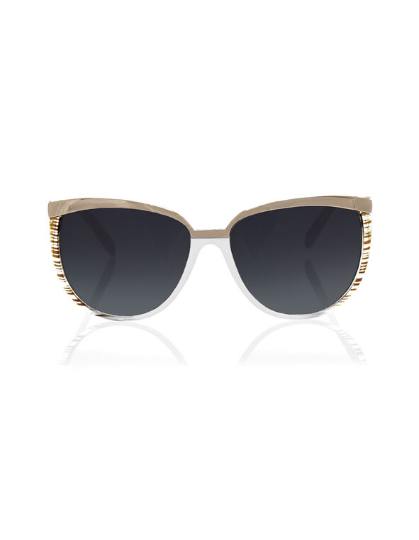 White Stripe Sunglasses, White, hi-res