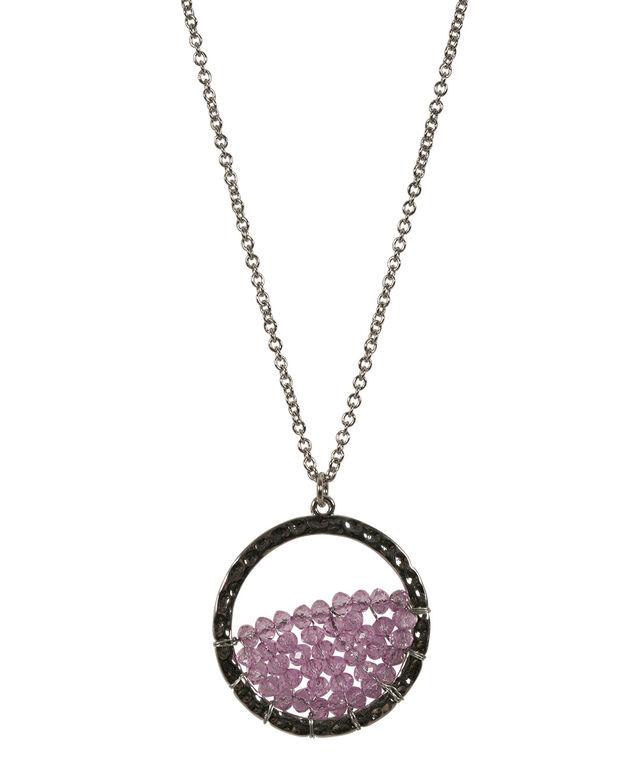 Ring Pendant Necklace, Lilac/Rhodium, hi-res