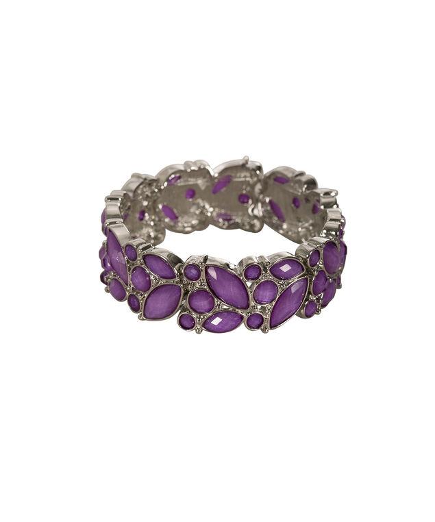 Glitter Stone Bracelet, Purple/Rhodium, hi-res