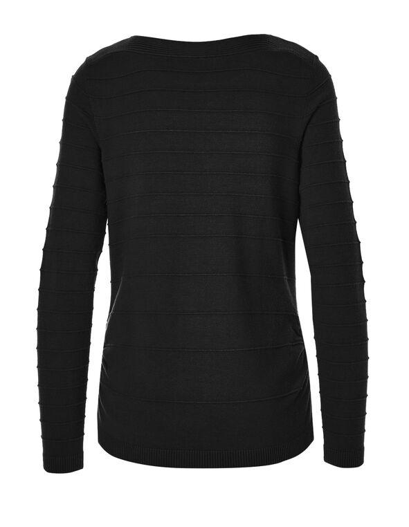 Black Ottoman Stitch Sweater, Black, hi-res