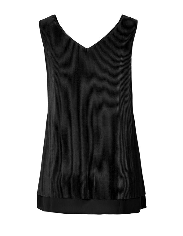 Black Plisse Sleeveless Top, Black, hi-res