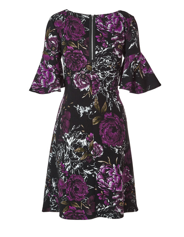 Purple Floral Printed Dress, Purple/Black, hi-res