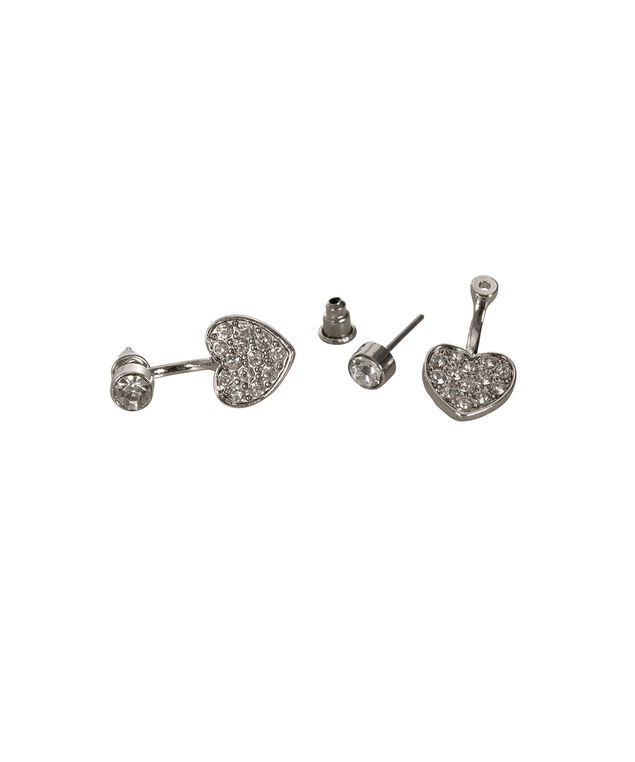 Front Back Heart Earring, Rhodium, hi-res