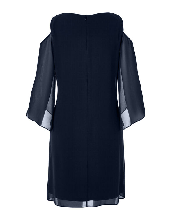 Navy Cold Shoulder Sheath Dress, Navy, hi-res