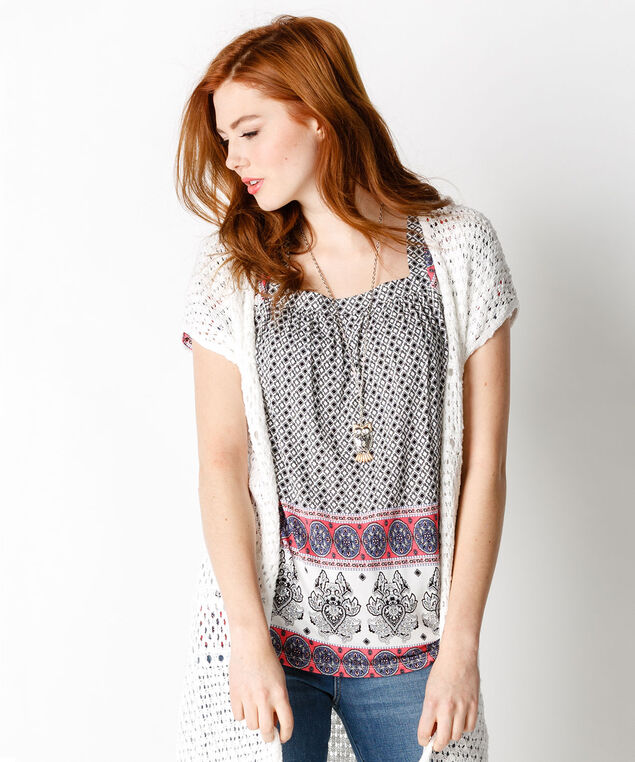 Square Neck Print Top, Neutral/Coral Print, hi-res