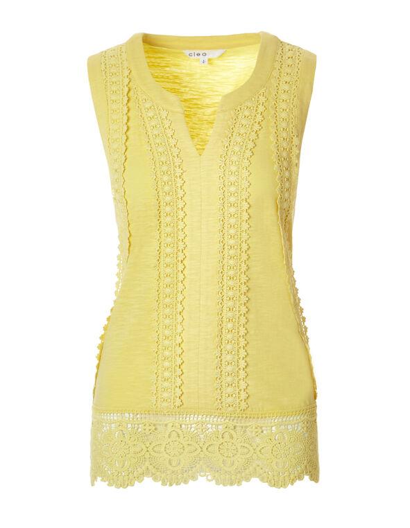 Yellow Sleeveless Crochet Top, Yellow, hi-res