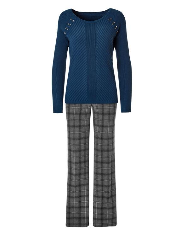 Turquoise Tie Pullover Sweater, Dark Turquoise, hi-res