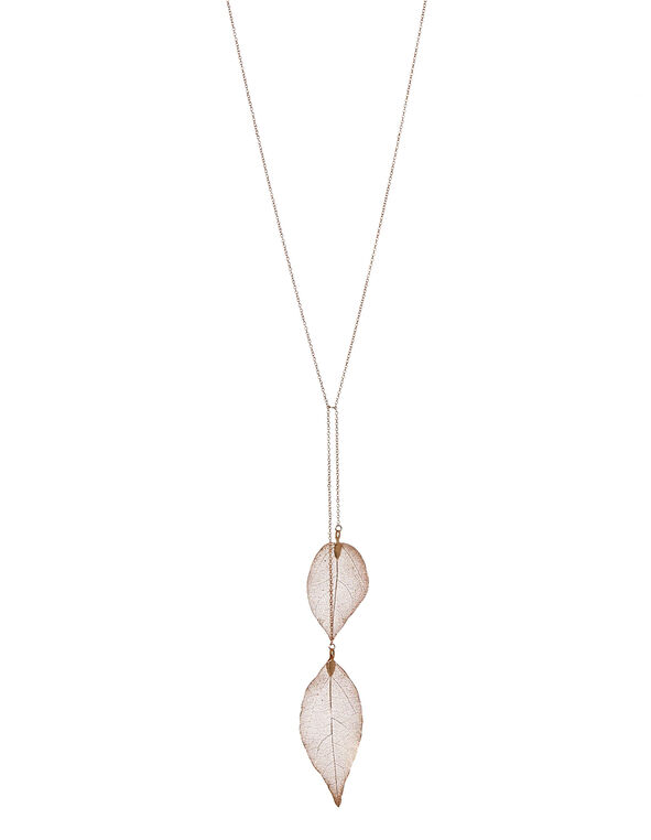 Rose Gold Leaf Necklace, Rose Gold, hi-res