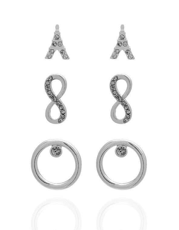 Silver Trio Earring Set, Silver, hi-res
