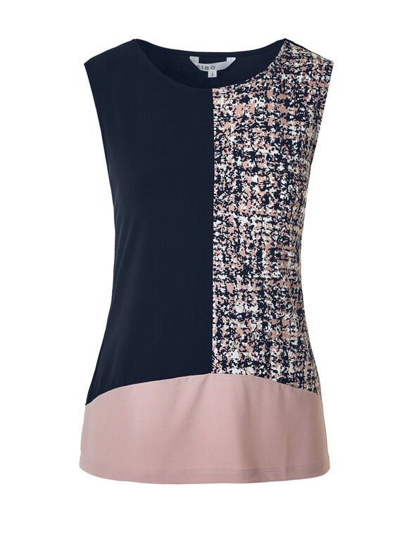 Rose Pink Colour Block Top, Navy/Rose Pink/White, hi-res