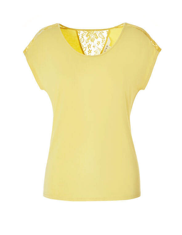 Yellow Crochet Trim Tee, Yellow, hi-res