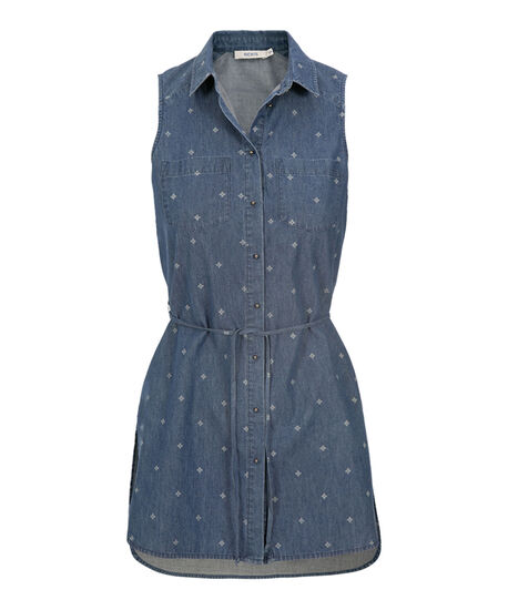 Sleeveless Chambray Tunic, Denim Print, hi-res
