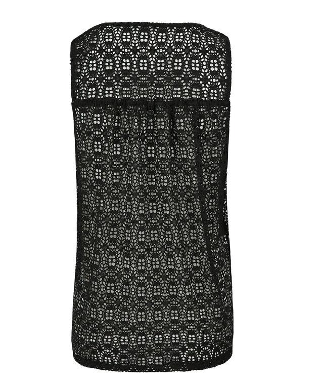 Crochet Overlay Tank, White/Black, hi-res