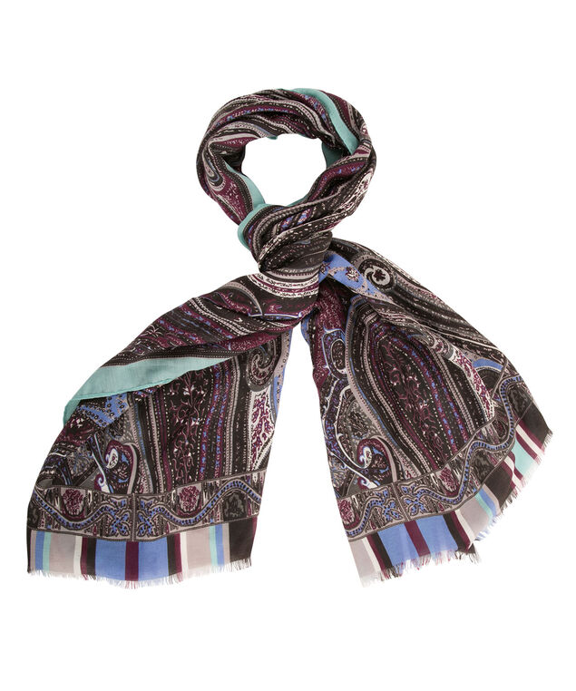 Paisley & Stripe Scarf, Plum/Deep Violet/Blue, hi-res